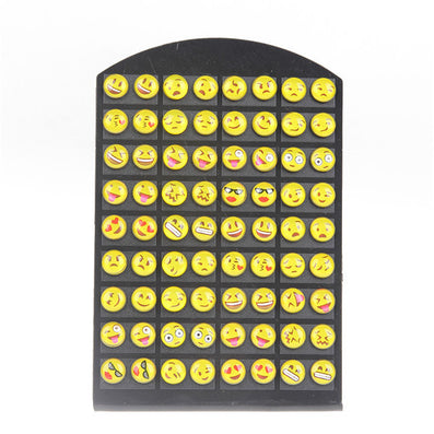 Cute 36 pairs Round Yellow Happy Face Emoji Stud Earrings Funny Smiley Earring For women Girl Christmas Gift - CelebritystyleFashion.com.au online clothing shop australia