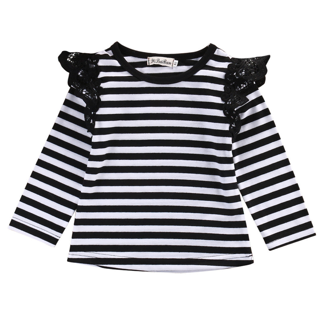 Autumn Newborn Baby Girls Toddler Kids Clothes Cotton Lace Flying Long Sleeve T-shirts Tops Outfit BlouseMultiCELEBRITYSTYLEFASHION