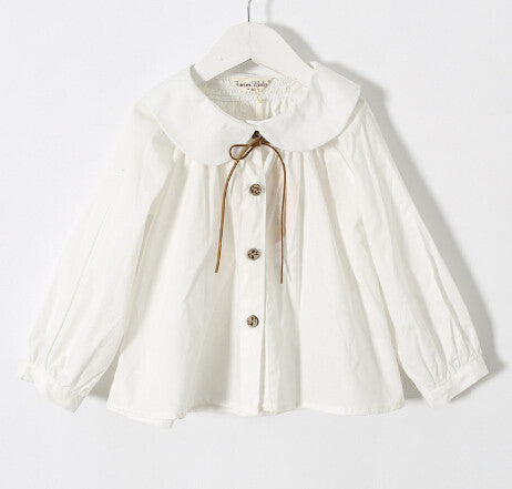bcabcd3b spring Girls long sleeve cotton White girl blouses child cute turn-down  collar shirt tops