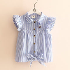 summer stripe butterfly sleeve child girl's blouses shirts children clothing baby child shirt for 100-140 cm kid - CelebritystyleFashion.com.au online clothing shop australia
