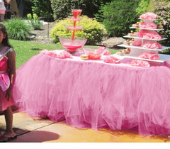 Tulle Table Skirt TUTU Tableware 100*80cm Customize Wedding Baby Shower Birthday Party Decor