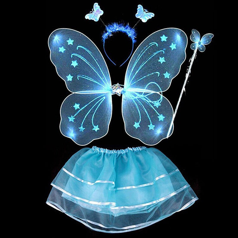 Blue4Pcs Kids girls Fairy Princess Costume Sets colorful stage wear Butterfly Wings Wand Headband Tutu Skirts