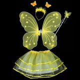 4Pcs Kids girls Fairy Princess Costume Sets colorful stage wear Butterfly Wings Wand Headband Tutu Skirts - CelebritystyleFashion.com.au online clothing shop australia