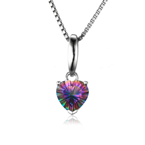 1.5ct Heart Genuine Mystical Fire Rainbow Topaz Pendant Solid 925 Sterling Silver Jewelry For Girl Without a Chain - CelebritystyleFashion.com.au online clothing shop australia