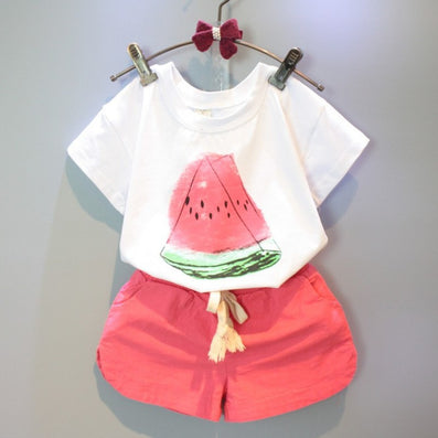 Girls Clothing Sets New Summer Girls clothes Watermelon Pattern Print Kids clothes T-shirt + Red Shorts Children clothing - CelebritystyleFashion.com.au online clothing shop australia
