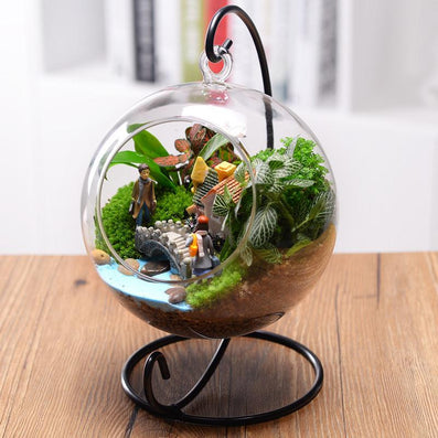Beautiful Clear Round Glass Vase Hanging Bottle Terrarium Hydroponic Container Plant Flower Home Table Wedding Garden Decor
