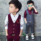 High Fashion Boy Clothes Suit Kid 2 Pcs Dotted Waistcoat + Pants Children Spring & Autumn Formal Clothing Set For Wedding - CelebritystyleFashion.com.au online clothing shop australia