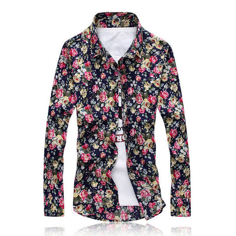Men Shirts M-5XL Fashion Casual Shirt Slim Fit Camisas Business Dress Floral Print Homme Shirts - CelebritystyleFashion.com.au online clothing shop australia
