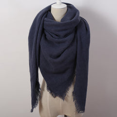 Fashion Solid Color Winter Square Scarf Women Oversize Blankets Luxury brand Shawl Cashmere echarpe Cape Size 140cmx140cm - CelebritystyleFashion.com.au online clothing shop australia