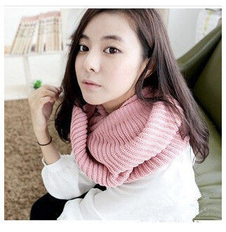 Pinkfashion winter warm Ring scarf lic Women Wool shawl Neck solid Wrap thicken Unisex Knitted scarves female pink sq306