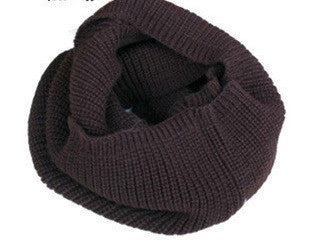 Brownfashion winter warm Ring scarf lic Women Wool shawl Neck solid Wrap thicken Unisex Knitted scarves female pink sq306