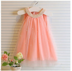 Girl's dresses summer style children's dress fashion baby girls Pure color pearl collar Tutu Princess Dress for kids clothing - CelebritystyleFashion.com.au online clothing shop australia