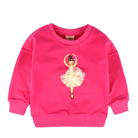 Ballet Girl Pattern Girls Sweatshirts New Spring/Autumn 6 Candy Colors Casual Long Sleeve Cotton Kids Clothes Children Tops - CelebritystyleFashion.com.au online clothing shop australia