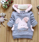 Baby girls Coat Kids Warm Winter Outerwear Children Hooded Jacket bunny sweater Pink&Gray 2-6Y - CelebritystyleFashion.com.au online clothing shop australia