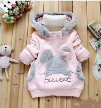 Baby girls Coat Kids Warm Winter Outerwear Children Hooded Jacket bunny sweater Pink&Gray 2-6YpinkCELEBRITYSTYLEFASHION