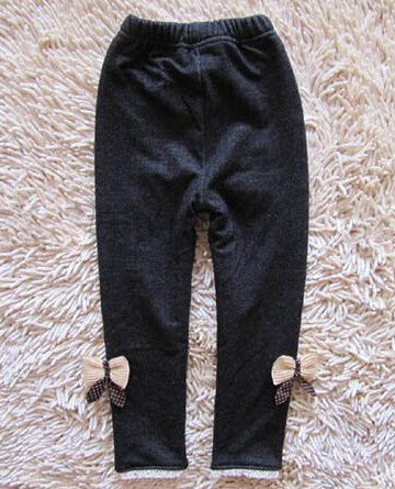 Black / 6Fashion Winter Casual Girls Bow Jeans Cotton Children Skinny Cashmere Pants Kids Clothes Warm Elastic Trousers Jeggings