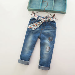 Baby Girls Fashion Denim Jeans Girls Flower-belt Skinny Jeans Kids Spring Autumn Jeans Child Long Pants - CelebritystyleFashion.com.au online clothing shop australia