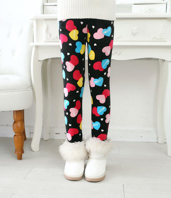 Plus Velvet Winter Girls Pants Thick Girls Warm Pants Floral Print Kids Baby Girls Pants For Girls Elastic Winter Trousers - CelebritystyleFashion.com.au online clothing shop australia