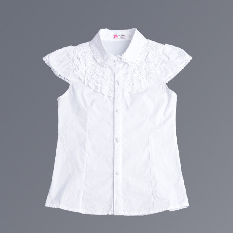 3321e9d0e Summer Girls Blouse Kids Baby Girl Clothes Cotton Tops Lace School White  Blouses For Girls Short