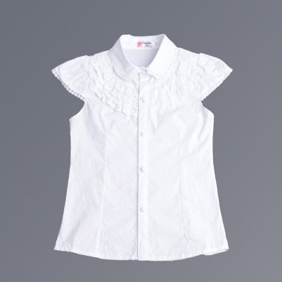 Summer Girls Blouse Kids Baby Girl Clothes Cotton Tops Lace School White Blouses For Girls Short Shirts Children Clothing - CelebritystyleFashion.com.au online clothing shop australia