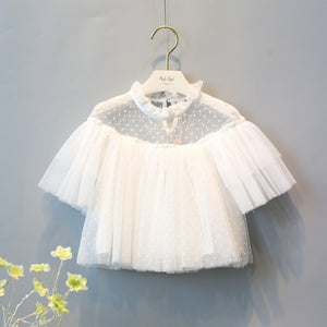 fashion girls white yarn short sleeve see-throught top shirt dot printed kids girl summer shirt for children outfit elegant tops - CelebritystyleFashion.com.au online clothing shop australia