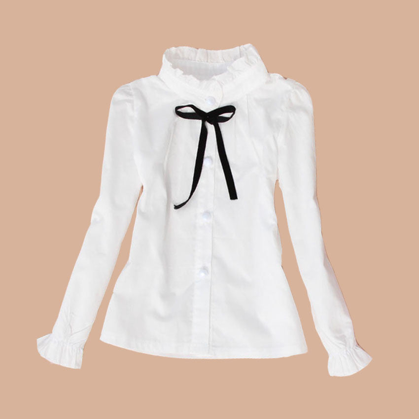 white / 3TBig Kids School Uniform Cotton Format Teenage Baby Clothes Turn-Down Collar Full Sleeve White Blouses & Shirts Girls Top 2-15 Y