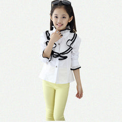 Kids White Polo Blouses & Shirts For Girls Cotton Casual Long Sleeve Roupa Infantil Rose Red - CelebritystyleFashion.com.au online clothing shop australia