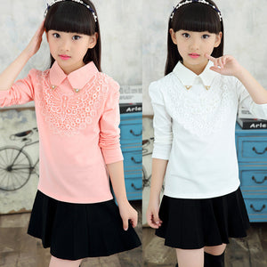 Girls Blouses Spring Autumn Children Clothing Turn-Down Collar Girl Princess Shirts Pearl Child Lace Bottoming Shirt 3-12Y - CelebritystyleFashion.com.au online clothing shop australia