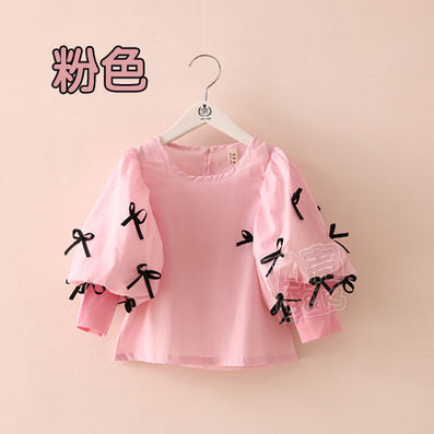 Spring Bow Children'S Girls Clothing Lantern Sleeve Shirt Long-Sleeve Shirt Tops - CelebritystyleFashion.com.au online clothing shop australia