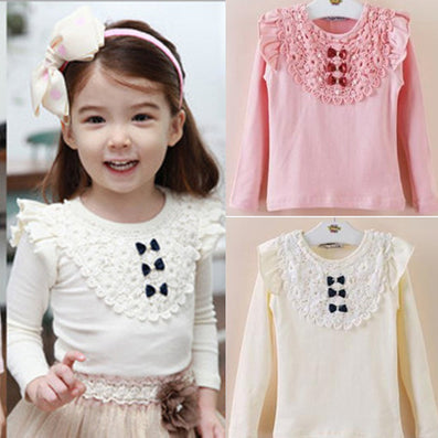 New Kids Toddler Clothes Girls Lace Bow Long Sleeve Tops Casual T Shirt Cotton Blouse - CelebritystyleFashion.com.au online clothing shop australia