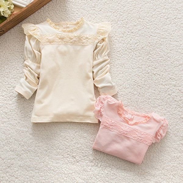 Baby Girls Lace Collar Cotton T-Shirts Princess Tee Long Sleeve TopsPinkCELEBRITYSTYLEFASHION