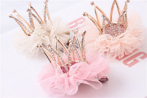 Upscale Princess Hair Accessories Children Headdress Head Flower Lace Three-dimensional Rhinestone Crown Hairpin Girl Party Gift - CelebritystyleFashion.com.au online clothing shop australia