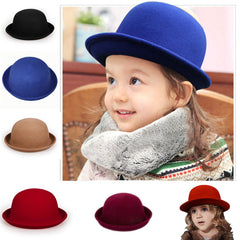 Fashion Kids Children Girls Wool Felt Trendy Round Top Bowler Derby Hat Spring Autumn Winter Warm Lovely Casual Cap - CelebritystyleFashion.com.au online clothing shop australia