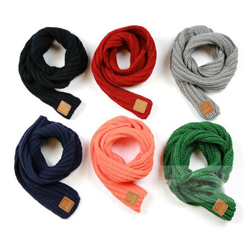New Children Winter Unisex Solid Color Woolen Yarn Warm Soft Knit Neckerchief Scarves Girls Boys Kids Scarf Wraps FHJ457 - CelebritystyleFashion.com.au online clothing shop australia