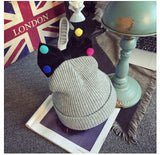 Lovely Girls Knitted Wool Solid knitted Hats Cute Mix Color Ball Bow-knot gorro for kids girls children beanies hedging - CelebritystyleFashion.com.au online clothing shop australia