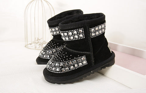 Winter New Fashion Children Snow Boots rhinestone Kids Leather Boots Warm Shoes With Fur Princess Baby Girls Ankle Boots - CelebritystyleFashion.com.au online clothing shop australia