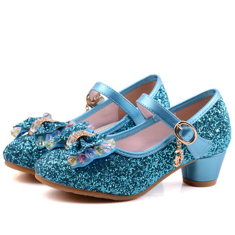 Spring Kids Girls High Heels For Party Sequined Cloth Blue Pink Shoes Ankle Strap Snow Queen Children Girls Pumps Shoes - CelebritystyleFashion.com.au online clothing shop australia