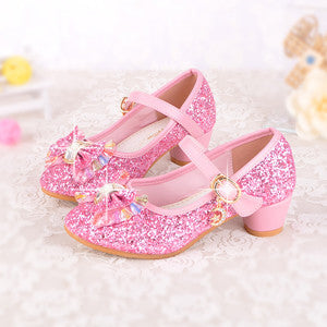 e66470cf05d Spring Kids Girls High Heels For Party Sequined Cloth Blue Pink Shoes Ankle  Strap Snow Queen Children Girls Pumps Shoes