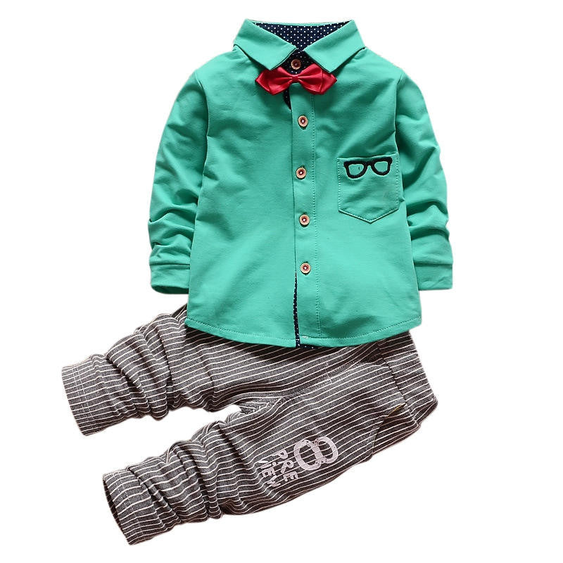show as picture / 12MBaby Boy Clothing Sets Children Bow tie T-shirts glasses cartoon+ pants Cotton Cardigan Two Piece Suit