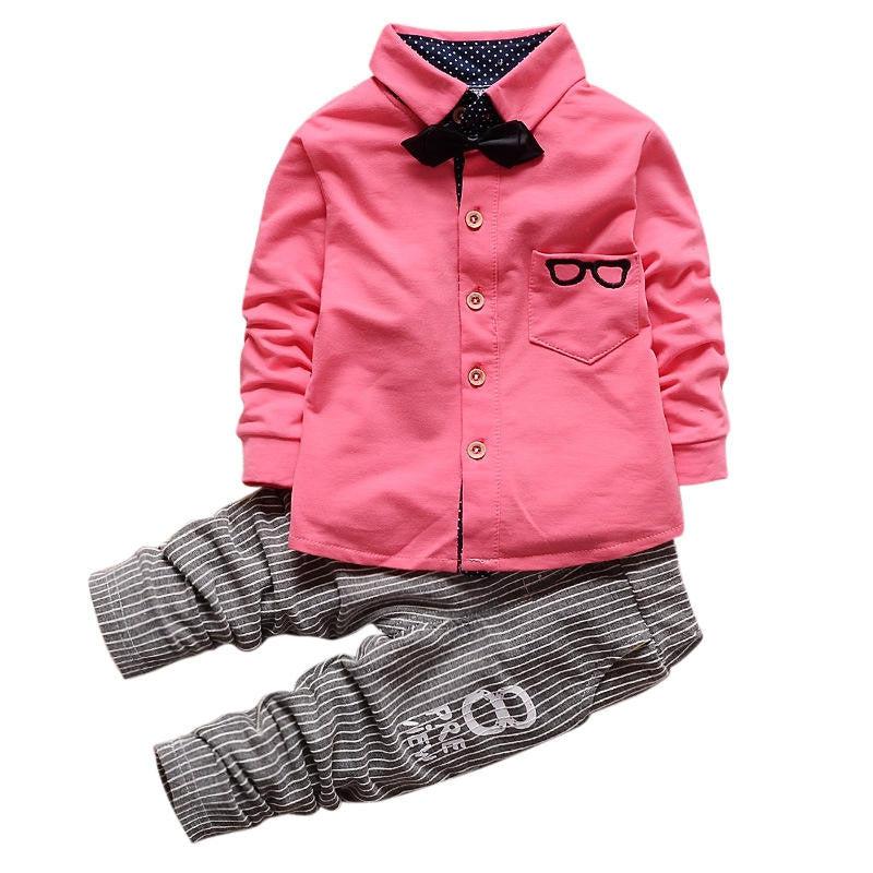 show as picture 1 / 4TBaby Boy Clothing Sets Children Bow tie T-shirts glasses cartoon+ pants Cotton Cardigan Two Piece Suit