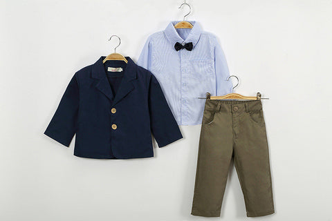 Children clothing New fashion gentlemen kids casual boys clothing sets coat jacket T-shirt pants 3 pcs sports suit sets - CelebritystyleFashion.com.au online clothing shop australia