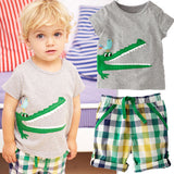HE Hello Enjoy Boy clothing set Casual kids clothes Summer boys clothes short anima T-Shirt + Plaid pants baby girl outfit - CelebritystyleFashion.com.au online clothing shop australia