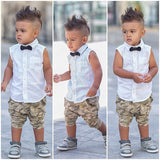 Summer Boys Suit Shirt T-shirt + Pants 2pcs / set sleeveless bow fashion camouflage pants suit Kids Free shipping - CelebritystyleFashion.com.au online clothing shop australia