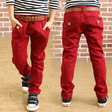 Fashion boys trousers spring boys solid color loose pants 100% cotton trousers for kids straight full length casual pants - CelebritystyleFashion.com.au online clothing shop australia