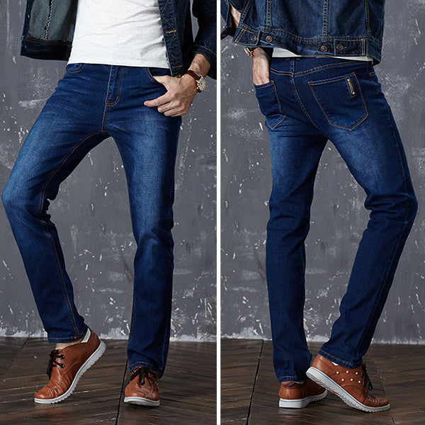 Blue / 28Brand Mens Jeans Slim Straight Stretch Pants Denim Trousers Size Jeans for Men
