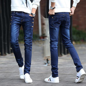 Fashion Teenagers Stretch Slim Fit Black And Blue Button Designers Casual Jeans Boys Hip Hop City Streetwear Men Pencil Pants - CelebritystyleFashion.com.au online clothing shop australia