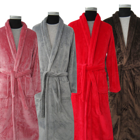 Lovers Luxury Silk Flannel Winter Long Bathrobe Mens Kimono Bath Robe Men Women Night Dressing Gown Male Bathrobes - CelebritystyleFashion.com.au online clothing shop australia