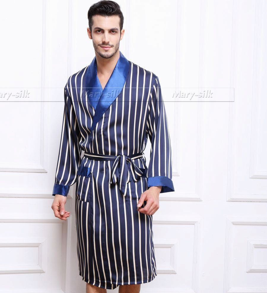 Navy Blue / XXXLMens Silk Satin Pajamas Pajama Pyjamas PJS Sleepwear Robe Robes Nightgown Robes S M L XL 2XL 3XL Plus Beige Blue Striped