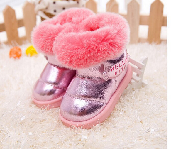 bfa0880ded fashion Kids Children's shoes shiny fur warm winter boots snow boost Baby  shoes Girls cotton padded Toddler baby's