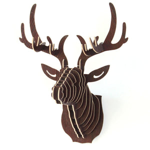 3D Puzzle Wooden DIY Creative Model Wall Hanging Deer Head Elk Wood Gift Craft Home Decoration Animal Wildlife